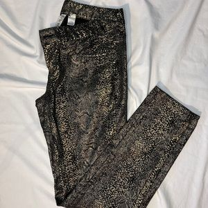 Mango Black & GOLD Snake Skin pant/jeans - size 8